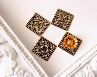 13mm square connectors gold plated metal filigree prints 4pcs bronze or antique