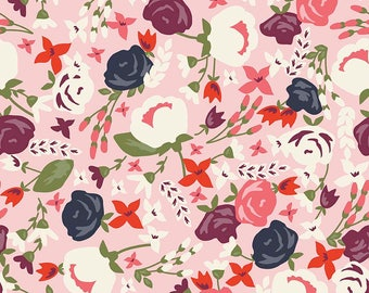 POSY GARDEN by Carina Gardner ~ Fabric ~ Main in Pink ~ Floral ~ Yardage ~ Quilting ~ Sewing ~ Posies ~ Purple
