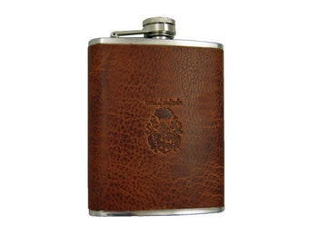Hip flask AMUNDSEN of brown leather and stainless steel - BARON of MALTZAHN