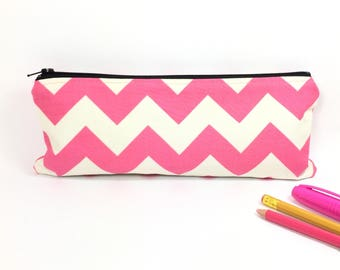 Personalized pencil pouch, Pencil case, Pencil pouch, Pink zipper pouch, Pencil bag, Back to school, Personalized pouch, Pink chevron bag
