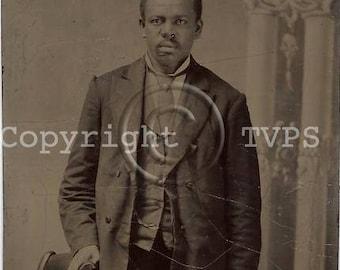 Black Americana Tintype photograph of a man