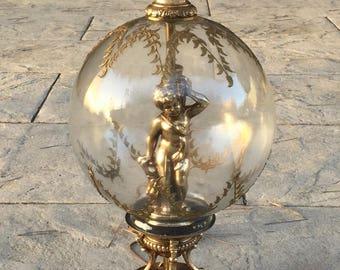 Antique Florentine Cherub Figural Putti Glass Lamp