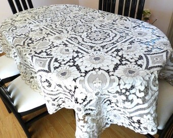 Vintage Madeira Hand Embroidered ELABORATE CUTWORK Tablecloth 98'' x 66''  8 Napkins Exquisite Madeira Ecru Linen All Cutwork Embroidery