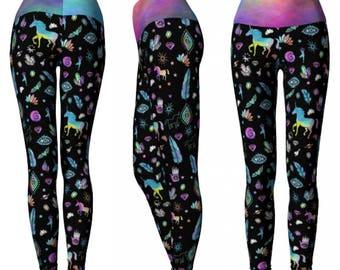 MAGIC POWER Leggings / Yoga Leggings/ unicorn leggings/ rainbow unicorn