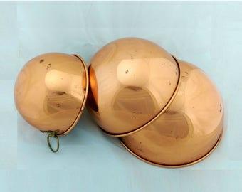 "Vintage Set of 3 Nesting Copper Mixing Bowls, 8"", 7.25"", 5.75"""