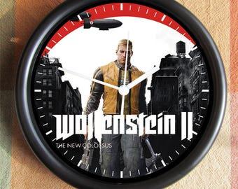 WOLFENSTEIN II 2017 The New Colossus Big 10 inch black wall clock clock town  Ships Tomorrow
