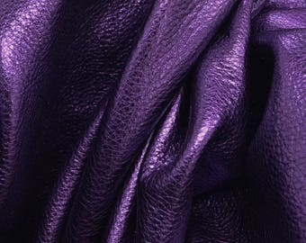 "Purple Reign Metallic ""Vegas"" Leather Cow Hide 8"" x 10"" Pre-Cut  2 ounces TA-39778 (Sec. 8,Shelf 4,A)"
