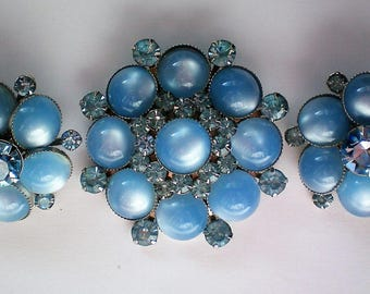 Signed Judy Lee Moonstone Brooch with Matching Earring Set - 5448