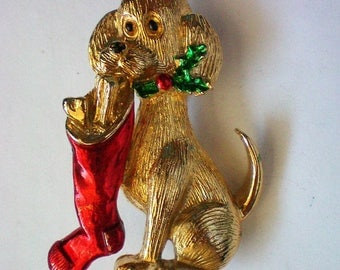 Signed Gerry's Dog with Christmas Stocking Pin - 5732