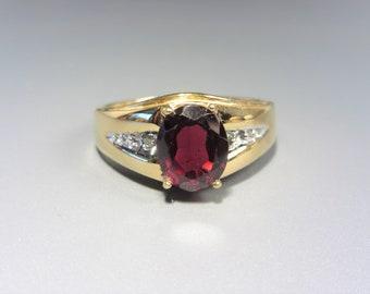 Mens Vintage Lind 14K Gold Plated Garnet Red Stone Ring Size 13