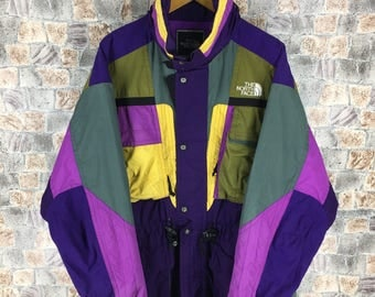 Vintage The NORTH FACE Jacket Mens XLarge North Face Ski Wear Multicolour Jacket Hoodie North Face 90s Skiing Hooded Jacket Bomber Size XL