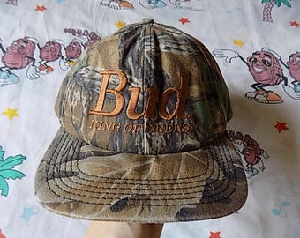 Vintage 90's Budweiser BUD King Of Beers Camouflage Snapback Hat, Adult Size beer drinking USA made