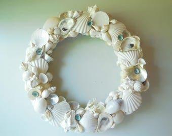 Seashell Wreath-White Shell Wreath-Coastal Home Wall Decor-Beach Decor-Seashell Door Wreath-Seashell Summer Wreath-Door Wreath