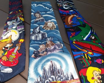 3x 1990's Cartoon Movie Film Neck TIES