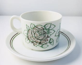 "Vintage Gefle Sweden hand printed coffee cup and saucer named ""Rebekka "", made in Sweden"