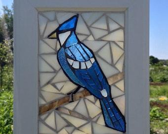 Stained Glass Blue Jay Mosaic suncatcher - Blue Jay Stained Glass Suncatcher  - Mosaic Canadiana Blue Jays Bird