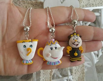 mrs potts chip cogsworth fimo clay disney beauty and the beast characters