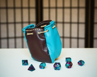 Four-Sided Leather Dice Bag - Sky Blue & Maroon