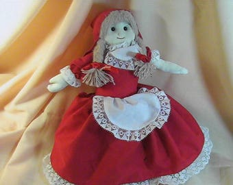 Vintage Alma's Topsy Turvy Doll, Little Red Riding Hood Grandma Wolf, Fairy Tale Doll