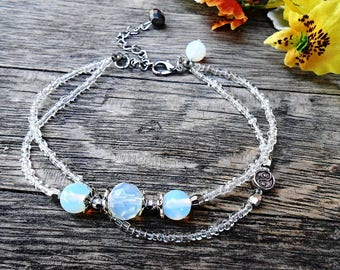 Moonstone Opalite Anklet Foot Bracelet Boho Beach Summer Yin Yang Feng Shui Healing Gemstone Crystal Stone Glass Seed Bohemian Sandal Gipsy