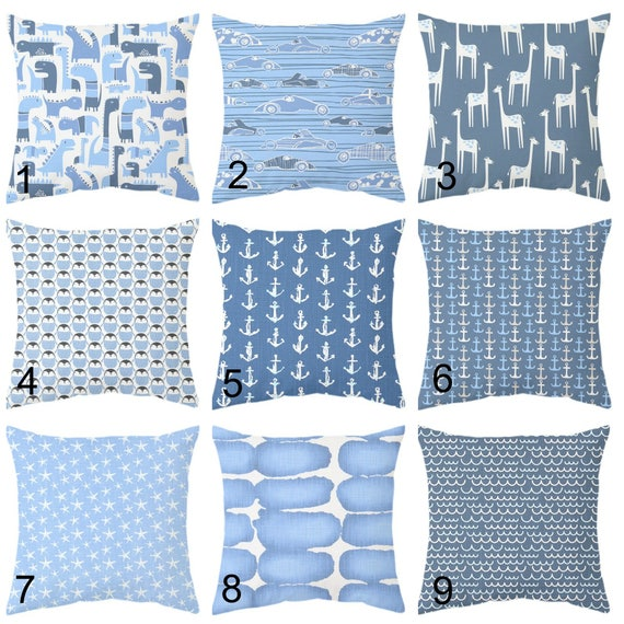 sky blue and navy blue boys cushion covers blue kids room