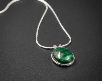 Malachite pendant necklace, malachite and sterling silver handmade semiprecious stone pendant necklace green silver gemstone pendant
