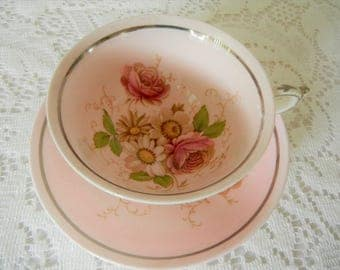 Vintage Paragon Tea Cup Set, Appointment to Her Majesty Queen Mary, 1940's Pink Bone China, from England