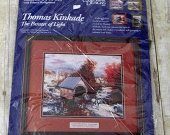 SALE 800) Thomas Kinkade  The painter of Light Candamar Designs Country Memories Autun 50962 Covered Bridge Cross Stitch Kit