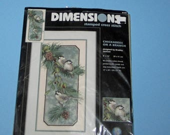 SALE Dimensions 3199 Stamped Count Cross Stitch  Beautiful Chickadees on a Branch