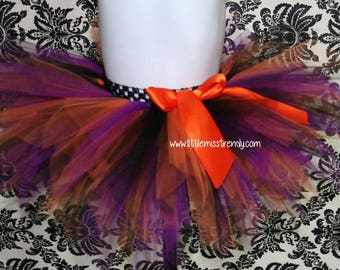 READY TO SHIP Witch Tutu, Purple,  Black and Orange Halloween tutu, Halloween Tutu Skirt,  Halloween, Halloween Tutu, Girls Tutus, Witch