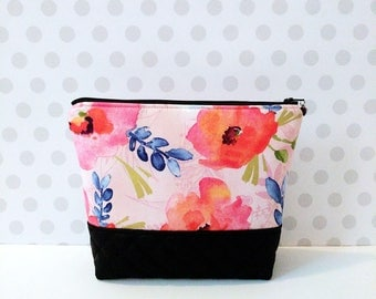 Watercolor Pink Floral Large Makeup Pouch