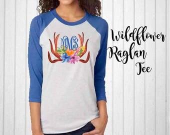 Monogram Shirt, Blue Wildflower Monogram Raglan Tee, Antler Raglan, Monogram T-Shirt