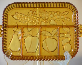 Amber Indiana Glass Sectioned Fruit Tray