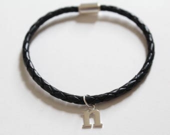 Leather Bracelet with Sterling Silver Typewriter N Letter Charm, Bracelet with Silver Letter N Pendant, Initial N Charm Bracelet, N Bracelet