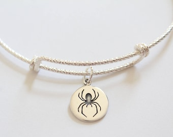 Sterling Silver Bracelet with Sterling Silver Spider Charm, Spider Charm Bracelet, Spider Bracelet, Silver Spider Bracelet, Black Widow
