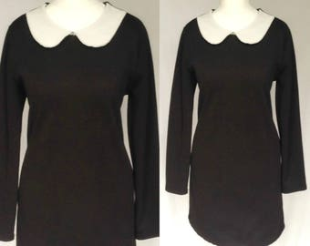 """Vintage 90s does 60s Mod Psych Black & White Peter Pan Mod Dolly """"Wednesday Addams"""" Scooter Mini Dress Medium"""