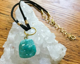 Blue Aura Quartz Crystal Cluster Choker Necklace || Suede Leather || Handmade Jewelry