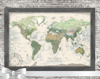 World Travel Map Personalized Map of World Map Travel Gifts Custom Travel Map Pushpin World Map Wall Art World Map Push Pin Map Art