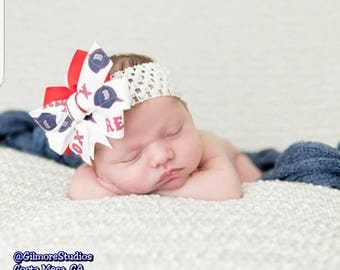 Boston Red Sox Baby Girl Boutique Bow Crocheted Headband