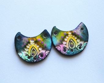 Lotus Crescent Moon Polymer Clay Beads,Colorful Mandala Artisan Beads,Handmade,Art Beads,Rainbow Colors,Clay Crescent Moon Beads,Lotus Bead