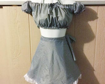 Gingham Skirt Two Piece Set