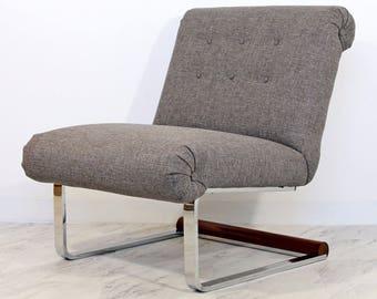 Mid Century Modern Baughman Slipper Flatbar Chrome Wood Cantilever Lounge Chair