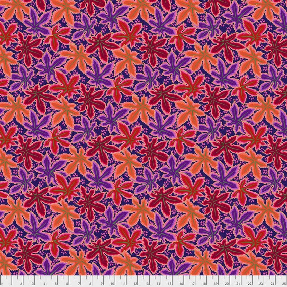 Pre-Order LACY LEAF Red Philip Jacobs PWPJ0093.REDXX Kaffe Fassett Collective Sold in 1/2 yd increments