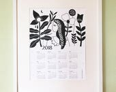 2018 illustrated Wall Calendar