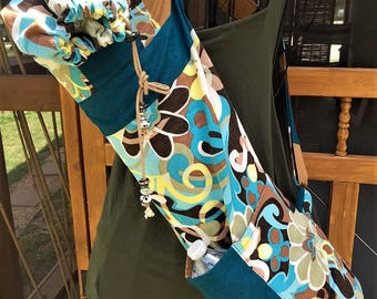 Turquoise Blue & Brown Yoga Bag Made from Upcycled Pre-loved Skirt