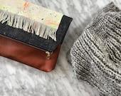 Reserved for Linda: Denim, Leather and Speckle Fringe Foldover Clutch