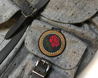 Cross Stitch Rose Patch