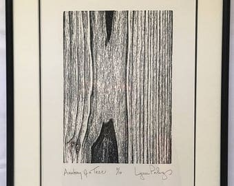 "Original Limited Edition (10 only) Woodcut, ""Anatomy of a Tree"" Double Matted and Framed 11"" x 14"""