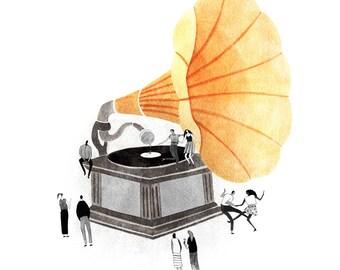 Gramophone Dancing Record Illustrated Print