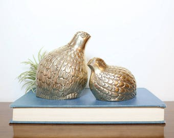Brass Quail, Vintage Brass Bird Figurines, Animal Decor, Fauna Decor, Whimsical Decor, Woodland Creatures, Desert Animals, Home Decor, Gifts